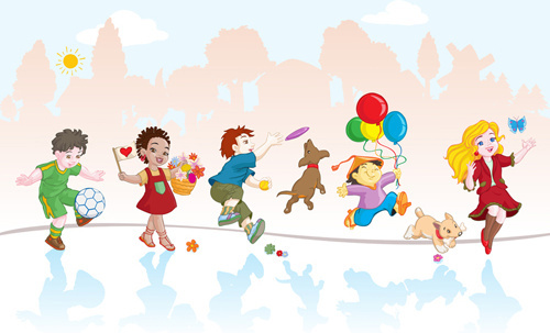 playing_children_cartoon_vector_set_521823